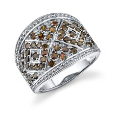 Exotic and Modern Sterling Silver Smokey Brown Cubic Zirconia Right Hand Ring