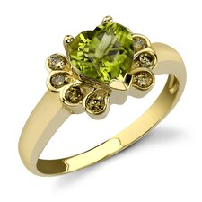 Uniquely Dreamy 1.41 Heart Shape Peridot Diamond Ring 14 Karat Yellow Gold