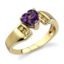 Lavish and Graceful 0.87 Carat Heart Shape Amethyst Diamond Ring 14 Karat Yellow Gold