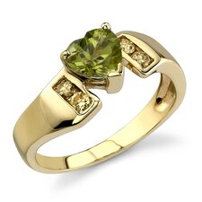 Enchanted Delight 0.87 Carat Heart Shape Peridot Diamond Ring 14 Karat Yellow Gold