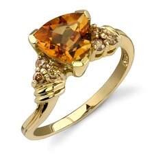 Charming and Chic 1.68 Carats Trillion Cut Citrine Diamond Ring 14 Karat Yellow Gold