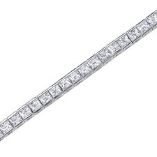 <strong>Oravo</strong> Full of Sparkle Princess Cut Gemstone Tennis Bracelet in Sterling Silver