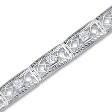 Victorian Style Princess Cut Gemstone Bracelet in Sterling Silver