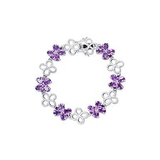 Antique Flower Design Oval and Round Cut Gemstone Bracelet in Sterling Silver