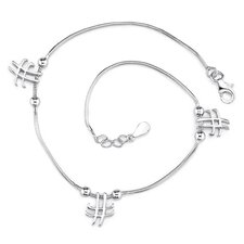Enchanting Glamour Sterling Silver Designer Inspired Snake Chain Bracelet with Knot and Cross Charms