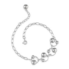 Rings of Beauty Sterling Silver Designer Inspired Oval Link Chain Bracelet with Silver Bead Rings