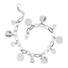 Twofold Good Fortune Sterling Silver Designer Inspired Symbolic Medallion Oval Link Bracelet