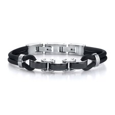 Trendy Innovation Stainless Steel Panther Link and Rubber Cord Bracelet for Men