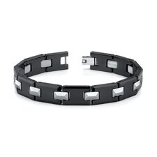 "<strong>Oravo</strong> 8"" Tungsten and Ceramic Link Bracelet for Men"