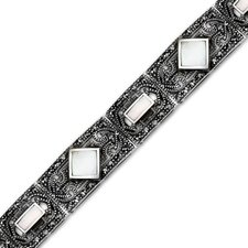 Romantic Indulgence Sterling Silver Marcasite and  Mother of Pearl Art Deco Style 71 4 inches Link Bracelet