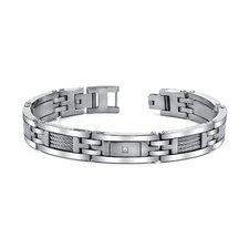 Mens Stainless Steel Bracelet with Twisted Cable Highlight