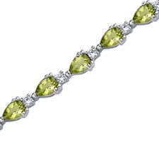 <strong>Oravo</strong> Chic and Beautiful Pear Shape Cubic Zirconia Gemstone Bracelet in Sterling Silver