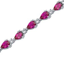 Chic and Beautiful Pear Shape Cubic Zirconia Gemstone Bracelet in Sterling Silver