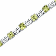 Charming Style Princess Cut Gemstone Bracelet in Sterling Silver