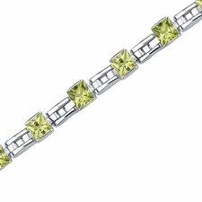 Charming Style Princess Cut Gemstone Bracelet in Sterling Silver