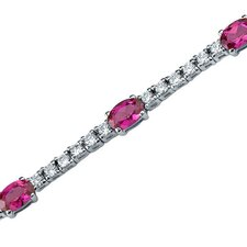 Extraordinary Showstopper Oval Shaped Cubic Zirconia Gemstone Bracelet in Sterling Silver