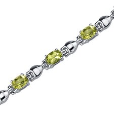 Exquisite Classic Oval Shaped Gemstone Bracelet in Sterling Silver