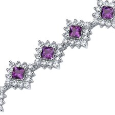 Timeless Splendor Princess Cut Gemstone Bracelet in Sterling Silver