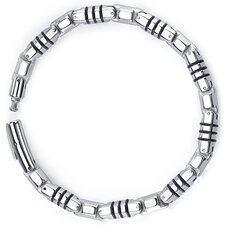 Rugged Elegance Stainless Steel and Rubber Fancy Link Bracelet for Men