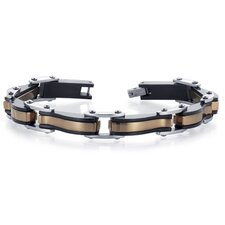 Smooth and Stylish Mens Rose Plated Stainless Steel and Black Ceramic Link Bracelet