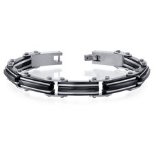 Mens Classy High-Polish Two Tone Black Ceramic and Stainless Steel Bracelet