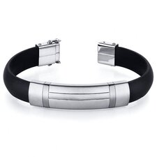 H Design Stainless Steel Black Rubber Mens Golf Bracelet