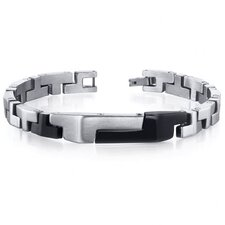 Mens Brushed and Black Plated T Link Stainless Steel Bracelet