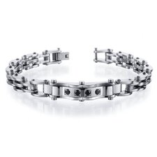 European Design Mens Black CZ Stainless Steel Bracelet