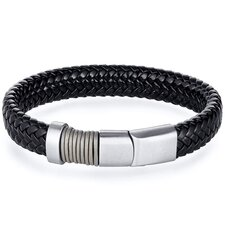 Mens Stainless Steel and Black Woven Bracelet