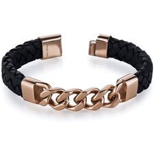 Mens Black Woven Leather Rose Gold Plated Steel Bracelet