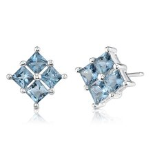 1.50 Carats Princess Cut London Blue Topaz Earrings in Sterling Silver
