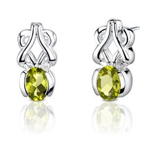 "0.25""x0.63"" 1.50 Carats Oval Shape Peridot Earrings in Sterling Silver"
