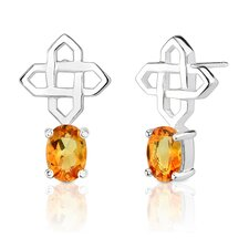 "0.5""x0.75"" 1.50 Carats Oval Shape Citrine Earrings in Sterling Silver"