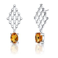 "0.38""x1"" 1.50 Carats Oval Shape Citrine Earrings in Sterling Silver"