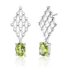 "0.38""x1"" 1.50 Carats Oval Peridot Earrings in Sterling Silver"