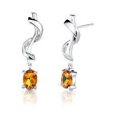 """0.25""""x1"""" Oval Shape Earrings in Sterling Silver"""