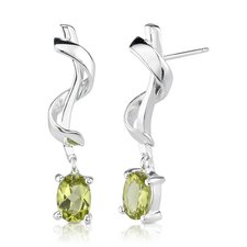 "0.25""x1"" 1.50 Carats Oval Peridot Earrings in Sterling Silver"