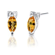 <strong>Oravo</strong> 1.10g 1.00 Carats Marquise Shape Citrine Earrings in Sterling Silver