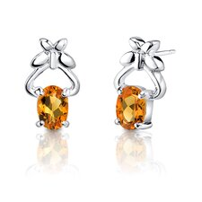 "0.25""x0.5"" 1.50 Carats Oval Shape Citrine Earrings in Sterling Silver"