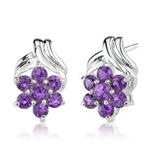 1.91 Grams 0.75 Carats Round Cut Gemstone Earrings in Sterling Silver