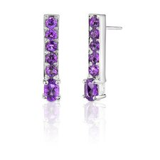 2.00 Carats Oval and Round Cut Gemstone Earrings in Sterling Silver