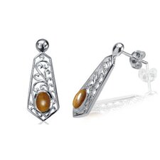 Oval Tigereye Bead Filigree Drop Earrings Sterling Silver