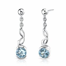 2.00 Ct.T.W. Genuine Round Swiss Blue Topaz Earrings in Sterling Silver