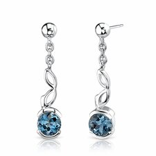 2.00 Ct.T.W. Genuine Round London Blue Topaz in Sterling Silver Earrings