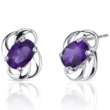 Genuine Oval Shape Gemstone Earrings in Sterling Silver