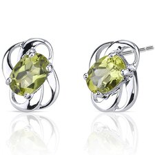 1.50 Ct.T.W. Genuine Oval Shape Peridot Earrings in Sterling Silver
