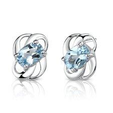 2.00 Ct.T.W. Genuine Oval Shape Swiss Blue Topaz Earrings in Sterling Silver