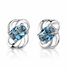 <strong>Oravo</strong> 2.00 Ct.T.W. Genuine Oval Shape London Blue Topaz Earrings in Sterling Silver