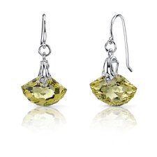 Spectacular Shell Cut 8.00 Carats Lemon Quartz Fishhook Earrings in Sterling Silver