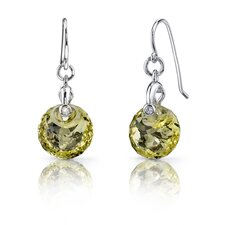 Spherical Cut 7.50 Carats Lemon Quartz Fishhook Earrings in Sterling Silver